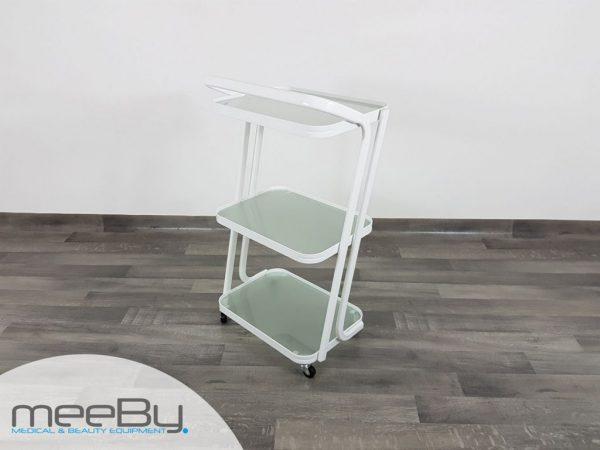 Carrello in metallo con ripiani in vetro