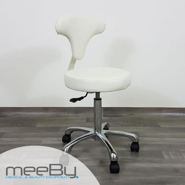 sgabello bianco con seduta tonda