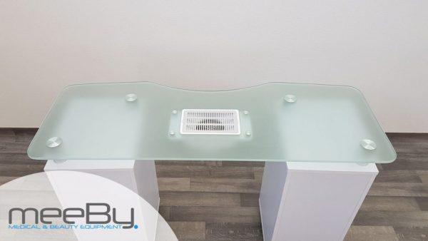 Tavolo manicure con piano in vetro temperato