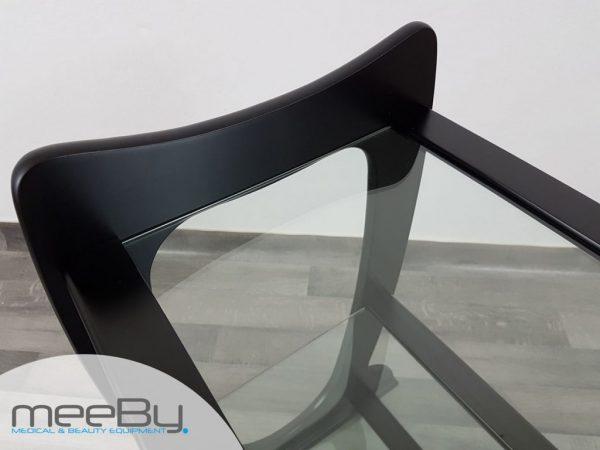carrello nero con 3 ripiani in vetro