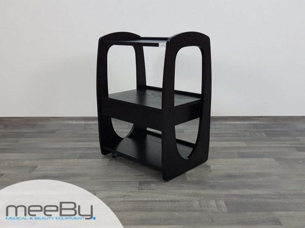 Carrello portaoggetti in legno nero con 3 ripiani