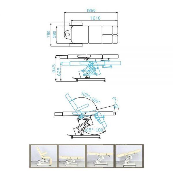 poltrona podologica professionale 2 snodi elettrica