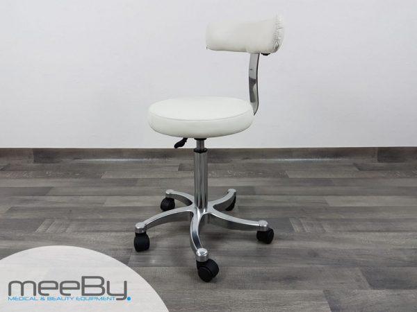 sgabello con seduta rotonda e skin bianco