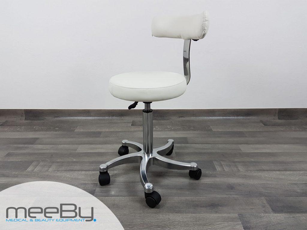 Sgabello con seduta rotonda e skin bianco meeby attrezzature