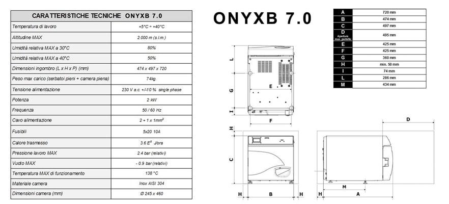 caratteristiche e dimensioni onyxb autoclavi classe b